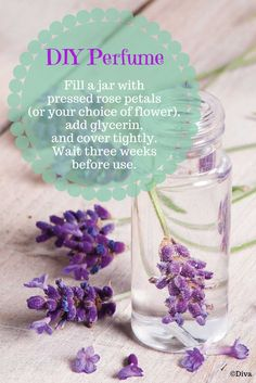 Homemade Perfume - Fill a clean jar with pressed rose petals (or any sweet-scented flowers), add as much glycerin as the container will hold, and cover It tightly. After three weeks, you can pour your #diy #perfume into a bottle.