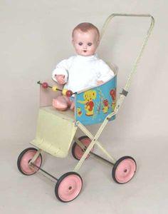 1960's vinyl and metal frame dolls stroller.