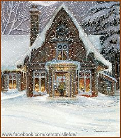 Cottage in the woods covered with snow. God bless this home. I added falling snow and a border to it. DF.