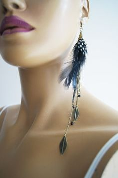 Long Feather Earrings   copper leaf and black by ArtofAccessory