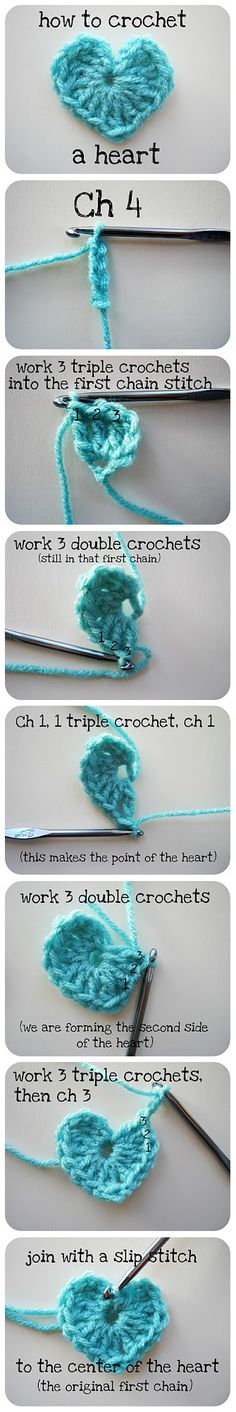 How to crochet a heart.  © cornflowerbluestudio.blogspot.com