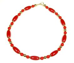 Vintage Red Lucite Bead Necklace Gold Tone by TheFashionDen, $12.00