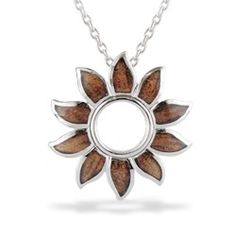 Sterling Silver Sun Pendant with Koa Wood* Inlay (Chain Included) - New From Na Hoku - #jewelry
