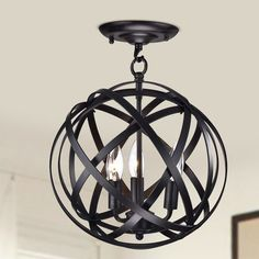 Features:  Product Type: -Semi flush mount.  Finish: -Black/Brown.  Material: -Metal.  Number of Lights: -3.  Bulb Type: -Incandescent.  Wattage: -60 Watts.  Material Details: -Iron. Dimensions:  Over