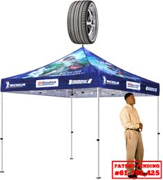 promotional tents with over the top spinners - great for outdoor events!   1 Plex (Pop Top)