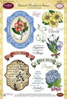 Justrite stamp set Botanical Medallions and Banners
