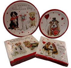 Valentine\u0027s Day Party Pack - I Woof You Dogs Paper Plates and napkins featuring bulldog  sc 1 st  Pinterest & Dog and Cat Christmas Paper Plates and Napkins Party Pack... Happy ...