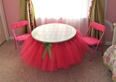 Sassy Sanctuary: Tutu Table    Very cute idea for little girl's birthday parties or just for their bedrooms ~ tea parties, etc... ;-)