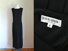 vintage 1990s dress - GIORGIO ARMANI black maxi dress / M