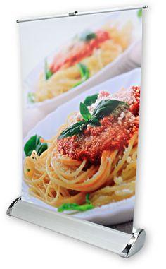 Roll-up banner: A3-formaat Duurzaam, lichtgewicht, krult en kreukt niet. Perfect te bedrukken, streept niet. Ideaal voor acties en prijslijsten op de balie en bij de kassa