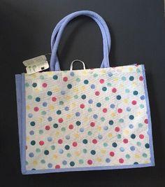 d8341a80f4a Waitrose Emma Bridgewater White Polka Dots Bag UK England Blue Red Shopping  PVC