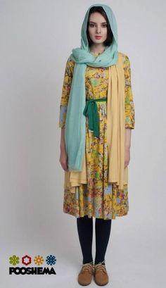 Poosh Design, Iranian clothing brand. Eerbare kleding. Eng. Modest clothing. Fr. Vêtement modeste. Du. Bescheidene Kleidung. Sp. ropa modesta. Ru. Скромная одежда.