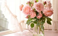 Download wallpapers pink roses, bouquet, flowers on the table, vase with flowers, roses