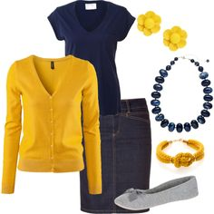 Navy and Mustard Yellow with denim skirt. lots of options! with an under shirt to bring up the neckline. Love this outfit. Modest Outfits, Skirt Outfits, Modest Fashion, Fall Outfits, Casual Outfits, Cute Outfits, Fashion Outfits, Apostolic Fashion, Modest Clothing