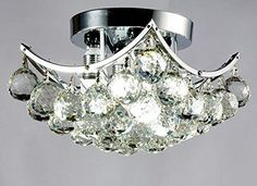 New Legend Lighting Chrome Finish Square 4light Flush Mount Crystal Chandelier *** Want to know more, click on the image. (Note:Amazon affiliate link)