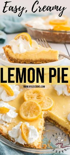 Creamy Lemon Pie with Candied Lemon Slices: A creamy but tart lemon pie baked in a glorious buttery graham crust, topped with whipped cream and candied lemon slices. Delicious and easy! #recipe #pie #lemon #dessert #kyleecooks