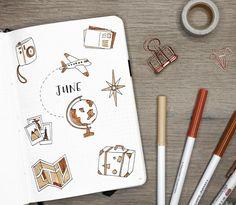 my travel-themed june bullet journal setup! watch the full video here: https://youtu.be/oTzJOA8uNJY