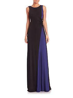 Armani Collezioni Bicolor Viscose Jersey Gown