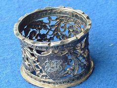 Victorian Silver Napkin Ring engraved PB Hallmarked Birmingham 1892, 21.2g
