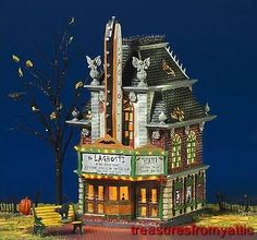 *Have* Department 56 Village Carnival - LaGhosti Movie Theatre Dept 56 Snow Village, Lemax Village, Halloween Village Display, Halloween Decorations, Halloween House, Halloween Town, Spook Houses, Jim Shore Christmas, Light Building