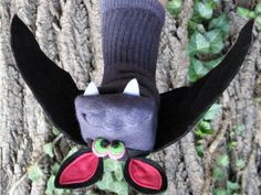 Handmade Bat Sock Puppet by SockHollow on Etsy