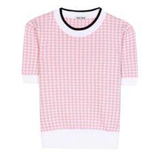 Miu Miu Short-Sleeved Wool Sweater ($445) ❤ liked on Polyvore featuring tops, sweaters, shirts, pink, miu miu shirt, rose shirt, miu miu top, wool sweater and woolen shirts