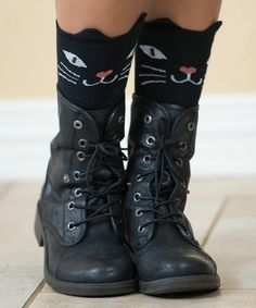 Look at this Just Couture Black Cat Character Socks on #zulily today!