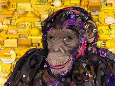 "Jason Mecier Original ""Wild Life"" Chimpanzee Artwork presented by GLAD Black Bag  Proceeds benefit Keep America Beautiful"