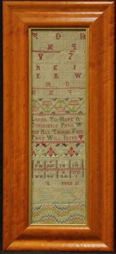 "Lot: Early 18th Century Sampler Dated 1705 Overall- 11"" X, Lot Number: 1548, Starting Bid: $150, Auctioneer: Robert Slawinski Auctioneers, Inc., Auction: CALIFORNIA ESTATE AUCTION, Date: May 27th, 2013 EDT"