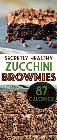 Have you ever wished you could have a huge, rich gooey brownie for under 100 cal. Have you ever wished you could have a huge, rich gooey brownie for under 100 calories? Well now you can with these zucchini brownies! Healthy Desayunos, Healthy Sweets, Healthy Dessert Recipes, Healthy Baking, Vegan Desserts, Delicious Desserts, Yummy Food, 100 Calorie Desserts, Healthy Snacks