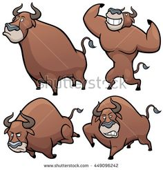 Vector illustration of Cartoon Bull Character Set - stock vector