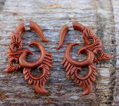 Fake Gauge earrings Organic owl Wood  tribal style by ANELAJADE, $24.99