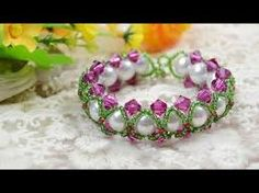 Image result for bracelet tutorial with pearls and crystals