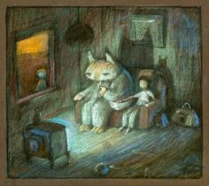 Preliminary sketch for the painting 'Never give your keys to a stranger', pastel on paper by Shaun Tan