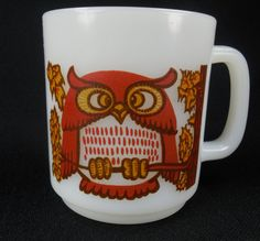 Glasbake Owl Mug Coffee Cup Made in USA Vintage by RedThreadRetro