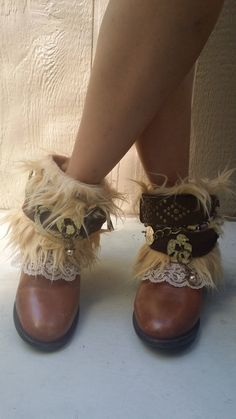 Boots are custom made and may have slight variations in design. Colors available: Beige Fur/Brown, Crochet/Dark Brown, Blue/Brown Size 8 Rodeo Boots, Gypsy Boots, Cowgirl Boots, Disney Clothes, Disney Outfits, Cute Outfits, Bohemian Shoes, Bohemian Style, Heeled Boots
