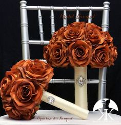 BURNT ORANGE Bridal Bouquet With BROOCH Handle. Burnt Orange Bouquet. Burnt Orange Brooch Bouquet. Burnt Orange Wedding. Qunceanera Bouquet. Pick color!! Bouquet measures approximately 11 wide and 13 in height.  This dreamy Flower Girl Bouquet, Rose Bouquet, Flower Ball Centerpiece, Crown Centerpiece, Orange Centerpieces, Mickey Centerpiece, Burnt Orange Weddings, Aqua Wedding, Bridesmaid Bouquet