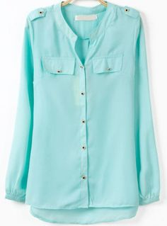 Blue V Neck Long Sleeve Buttons Dipped Hem Blouse pictures