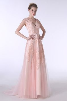 4be8b0d9b5 A-Line V-neck Sweep Train Tulle Prom Dress With Appliques Lace  CY0183  168  - GemGrace.com. Blush Pink Prom DressesTulle Prom DressProm GownsParty ...