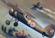 PZL P 11 vs Stuka by Jarosław Wróbel Ww2 Aircraft, Military Aircraft, Military Art, Military History, Fokker Dr1, Airplane Art, Historical Art, Aircraft Pictures, Aviation Art
