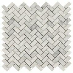 Carrara White Herringbone Mosaic Marble Tile