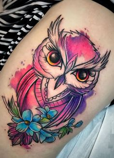 awesome watercolor owl tattoo © tattoo artist Jagood ❤🐦❤🐦❤🐦❤ watercolor tattoo Watercolor Tattoos Will Turn Your Body into a Living Canvas Watercolor Owl Tattoos, Owl Tattoo Drawings, Owl Watercolor, Abstract Tattoos, Geometric Tattoos, Baby Owl Tattoos, Cute Owl Tattoo, Animal Tattoos, Tattoo Owl