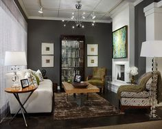 Gauntlet Gray-Sherwin Williams Design, Pictures, Remodel, Decor and Ideas accent wall in living room Gauntlet Gray Sherwin Williams, Sherwin Williams Gray, Peppercorn Sherwin Williams, Urbane Bronze Sherwin Williams, Beige Couch, Dark Grey Walls, Design Salon, Paint Colors For Home, Paint Colours