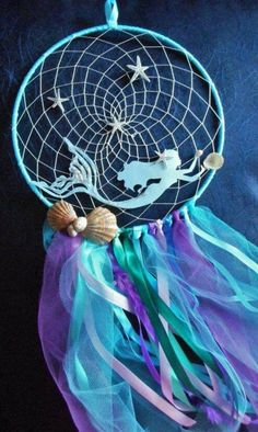 Mermaid baby shower gift, Nautical beach bedroom decor, Ocean dreamcatcher Mermaid dream catcher by HandmadeByNeliShop on Etsy Mermaid Diy, Baby Mermaid, Mermaid Gifts, Little Mermaid Room, Little Mermaid Crafts, Mermaid Nursery Decor, Dream Catcher Craft, Diy Dream Catcher For Kids, Making Dream Catchers