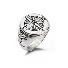 925 Sterling Silver Nautical Magnetic Compass Navigation Crescent Moon Face Ring