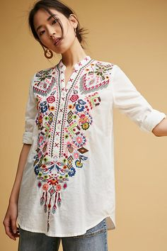Vanna Embroidered Tunic from Anthropologie Ethnic Fashion, Boho Fashion, Fashion Outfits, Embroidery Fashion, Embroidery Dress, Tunic Designs, Embroidered Tunic, Designer Dresses, Tunic Tops