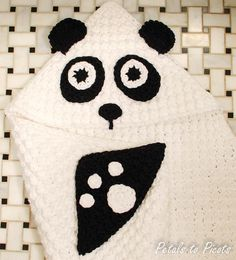 Here's the newest hooded towel in my shop ... the Panda Baby Towel with Mitts
