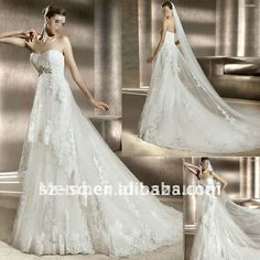 H0863 White Empire Appliqued Beaded Sweetheart Long Tail Weddding Dress on AliExpress.com. $208.00
