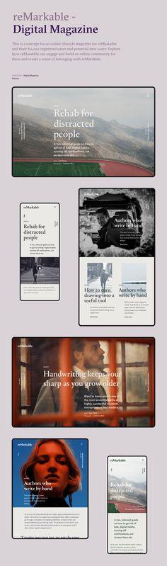 reMarkable - Digital Magazine on Behance Website Design Layout, Website Design Inspiration, Web Layout, Layout Design, Desktop Design, Web Design Projects, Behance, Ui Web, Digital Magazine