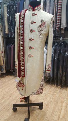half white sherwani with front and down zardosi .To order this whatsapp us on . Sherwani For Men Wedding, Sherwani Groom, Mens Sherwani, Wedding Suits, Wedding Groom, Wedding Dresses, Indian Groom Wear, Indian Suits, Indian Wear